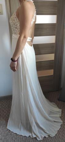 Długa koronkowa suknia, bardzo jasny beż, Grace Karin