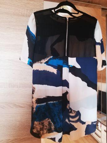 Asymetryczna bluzka z zamkiem blogerska elegancka mgiełka m 38 l 40
