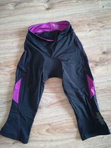 Nowe spodnie na rower czarno fioletowe, długość nogawki 3/4 rozmiar s