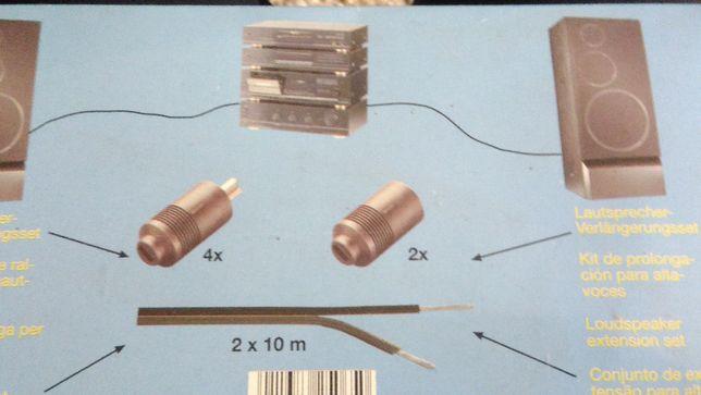 Komplet kabel 2x10m i wtyczki do wiezy z Niemiec NOWE