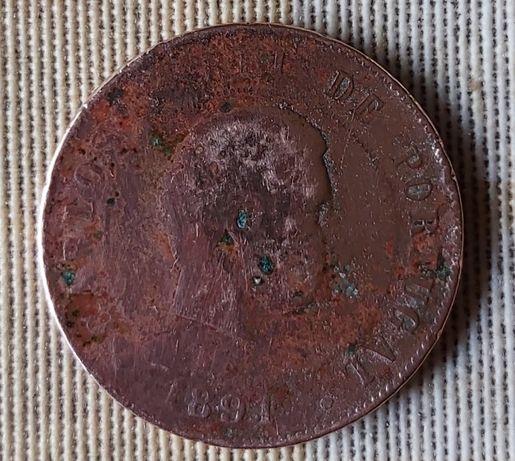 Moeda de 20 reis de D. Carlos I Rei de Portugal de 1891 em bronze