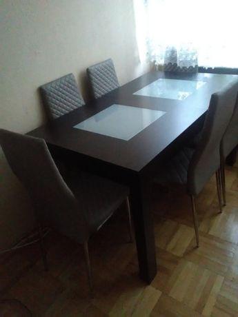 Stół + 5 krzeseł ekoskóra