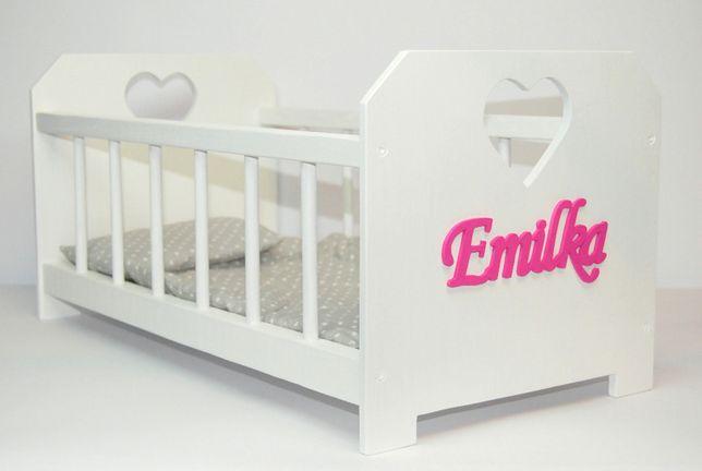 Łóżeczko drewniane dla lalek - Duże z imieniem i pościelą NOWE