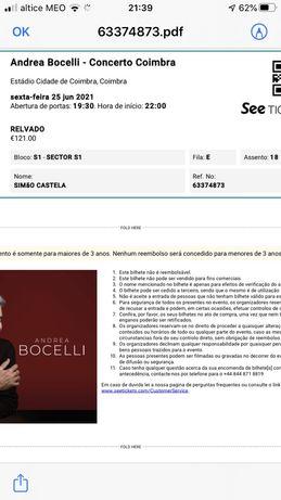Bilhetes Andrea Bocelli Coimbra