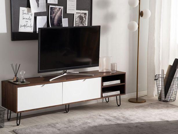 Móvel de TV castanho e branco PAXTON - Beliani