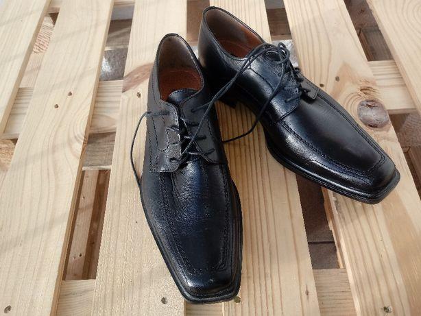 Nowe buty męskie Borelli, skórzane, wyjściowe, eleganckie, czarne 40