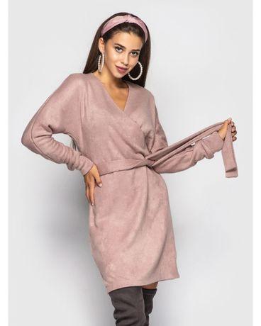 Красивое Платье короткое женское с поясом розовое пудровое
