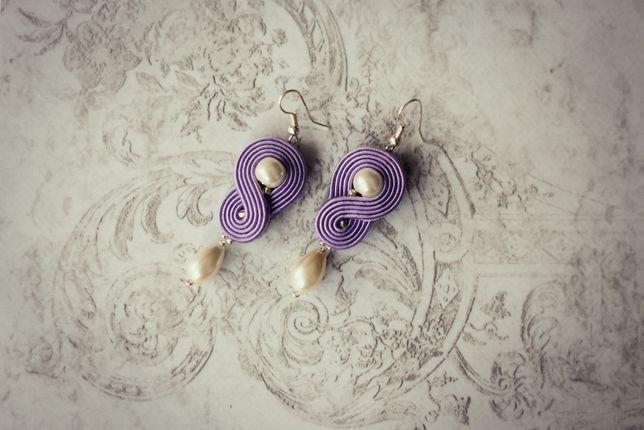 Kolczyki sutasz jasny fiolet z perełkami
