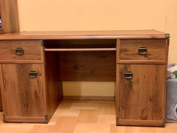 Black red white brw Indiana zestaw biurko szafa komoda regały