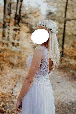 Koronkowa suknia ślubna biała z odkrytymi plecami! Muślin! OKAZJA