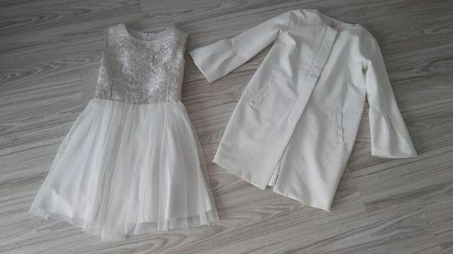 Plaszcz reserved sukienka tiul rozmiar 146
