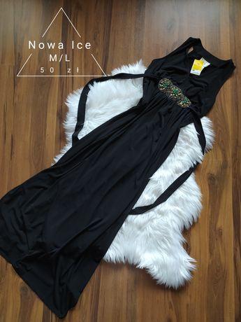 Piękna nowa czarna sukienka suknia maxi komunia wesele kamienie M/L