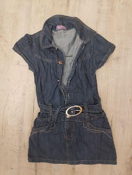Sukienka jeansowa z paskiem roz. 122