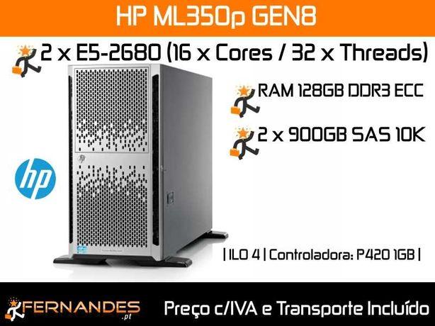 Servidor HP ML350p G8 | 32 x vCPUs até 3.5GHZ |  128GB RAM | 1.8TB HDD