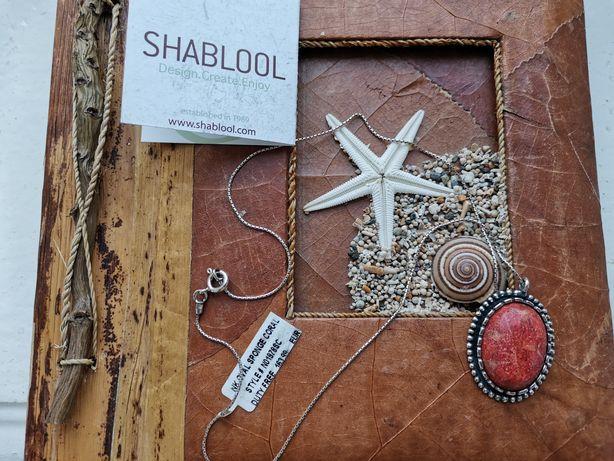 Серебряная подвеска на шею Shablool с корал. камнем Израиль,оригинал.