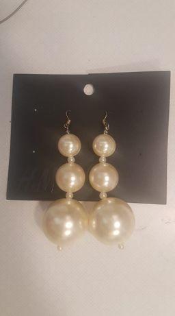 Nowe kolczyki kule perły perełki H&M rarytas celebrytki chwosty
