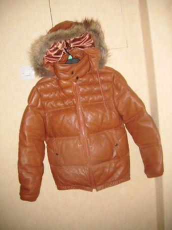 kurtka ze skóry puchowa bardzo ciepła