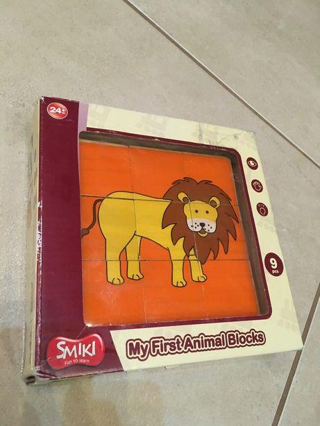 Klocki obrazkowe drewniane Smiki Zwierzęta układanka drewniana Safari