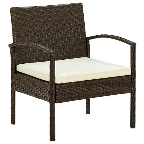 vidaXL Cadeira de jardim com almofadão vime PE castanho 45794