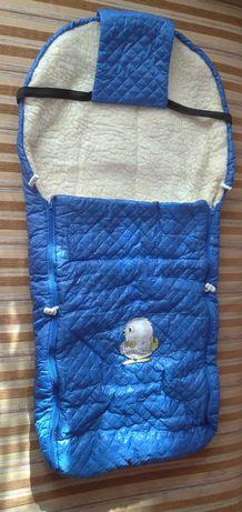 Теплый, зимний конверт на овчине от 0 до 6 лет