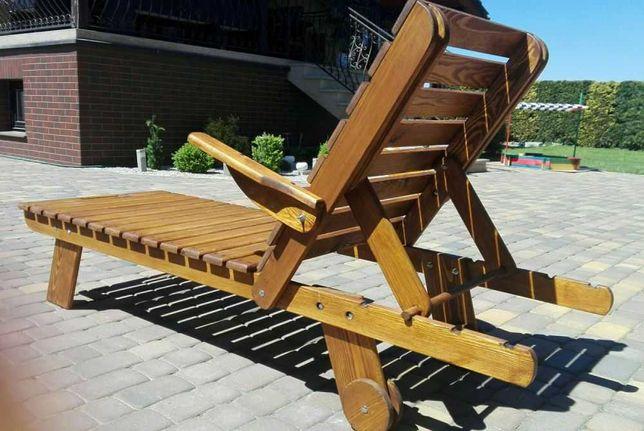 Leżak ogrodowy drewniany na kółkach solidnie wykonany
