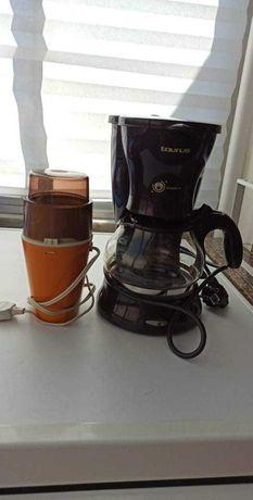 Conjunto cafeteira e moinho de café