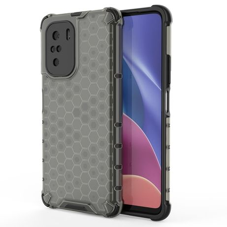Capa Silicone Traseira Honeycomb Case Armor Cover Bumper Xiaomi Redmi K40 Pro+ / K40 Pro / K40 / Poco F3 Preto