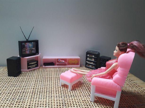 Barbie zestaw dwie lalki oraz dwie laleczki dzieci meble salon i łożko