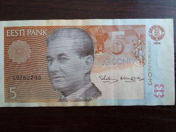 Banknot 5 krooni Estonia