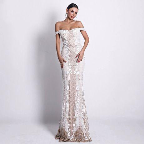 Платье свадебное, вечерне, расшитое бисером