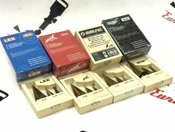 Сверла ступенчатые, набор 3 штуки — 4-12 / 4-20 / 4-32 мм. POLAND