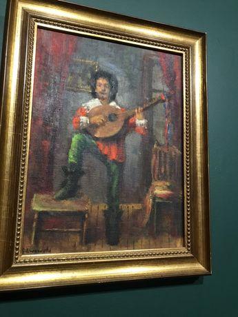 Obraz barda z instrumentem 30x38