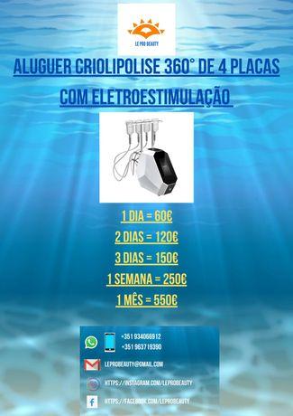 Aluguer Criolipolise 360 de 4 placas com eletroestimulação