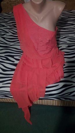 Яскраве персикове плаття на одне плече. Розмір 14-16. Xl-Xll.