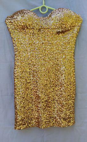 Платье в пайетках золотое