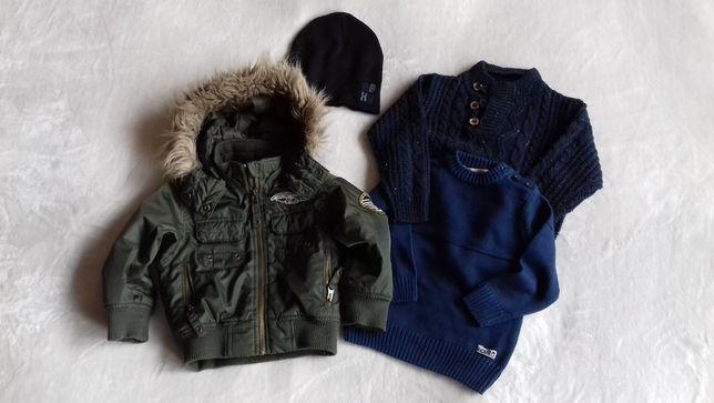 kurtka H&M rozm. 92, sweterek Coccodrillo, czapka Roxy