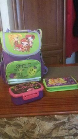 Рюкзак школьный Kite для девочки, пенал и ланчбокс в подарок