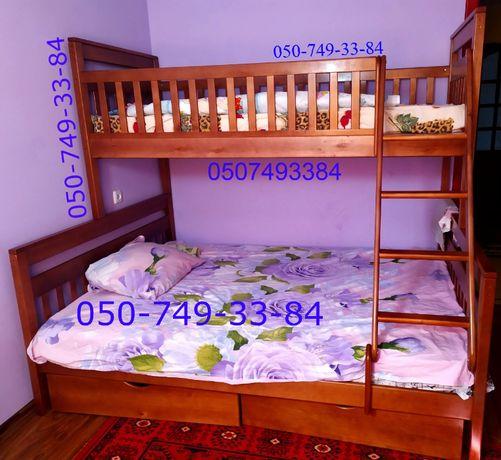 Трехспальная кровать (200*140) с ольхи.Двухъярусная *Адель 2в1*