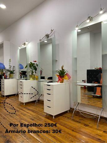 Móveis de salão marquesa, espelhos, armários, mesa de manicure, cadeir