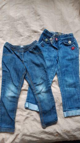 Dwie pary spodni jeans dżinsowe dla dziewczynki 98