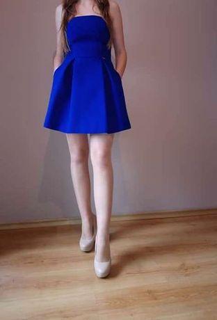 sukienka rozkloszowana chabrowa