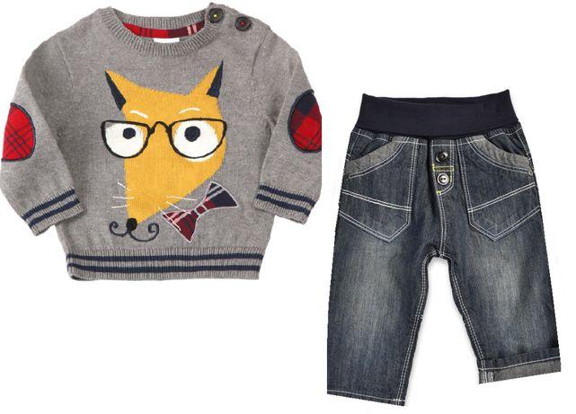 68 NOWY komplet COOL CLUB BLUE SEVEN sweter spodnie smyk wiosenny FOX
