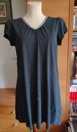 Sukienka-tunika Croft& Barrow, czarna w białe kropeczki, rozmiar L