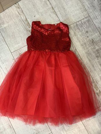 Платье детское на девочку нарядное пишное красное с паетками