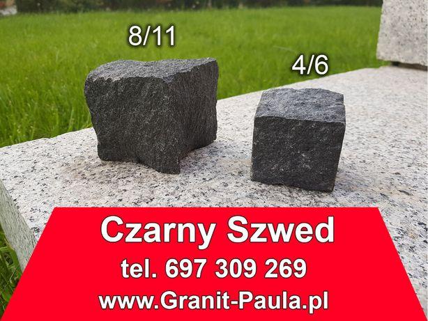 Kostka granitowa, granit Czarny Szwed - 8/11 i 4/6, czarna brukowa