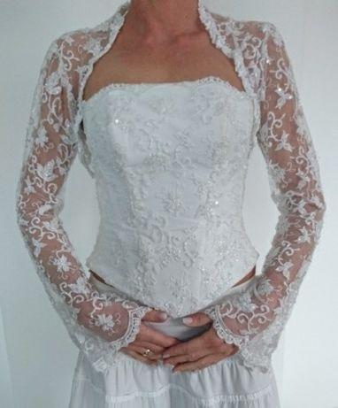 Suknia ślubna , gorset, bolerko , koronka