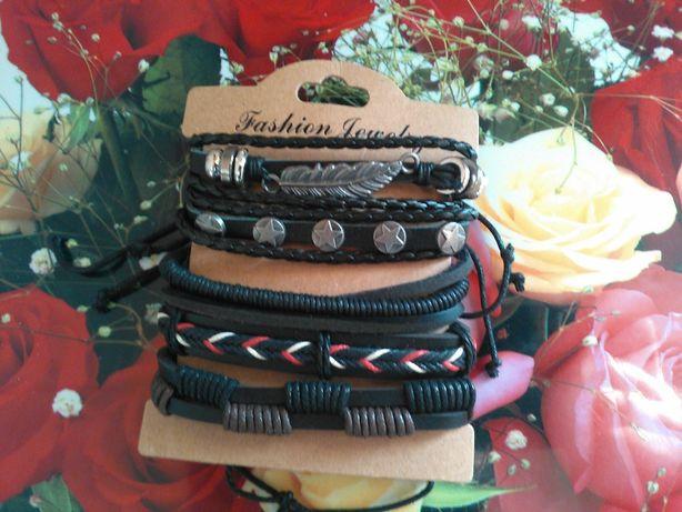Набір браслетів шкіряних Fashion Jewelry (набор кожаных браслетов)