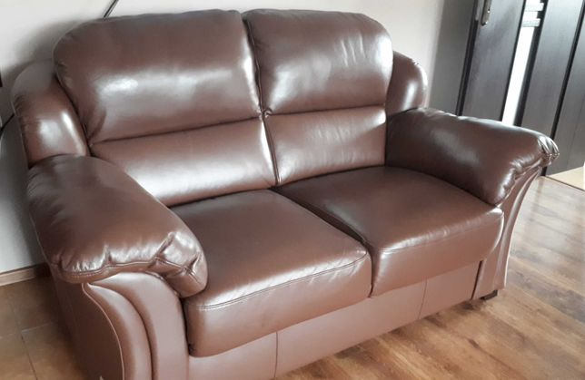 Skórzana sofa Meble Bydgoskie brąz