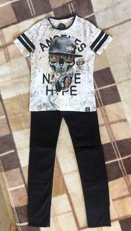 Модные подростковые джинсы кофта на 13-16лет