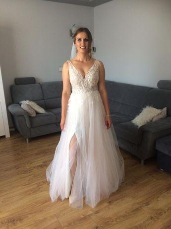 suknia ślubna+tren size 38